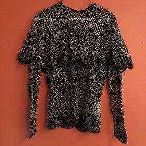 Zara black lace blouse small